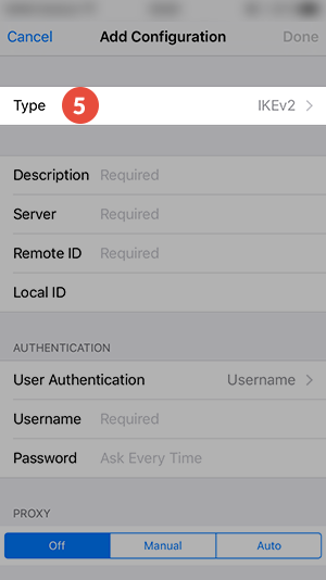 How to set up L2TP VPN on iPhone: Step 5